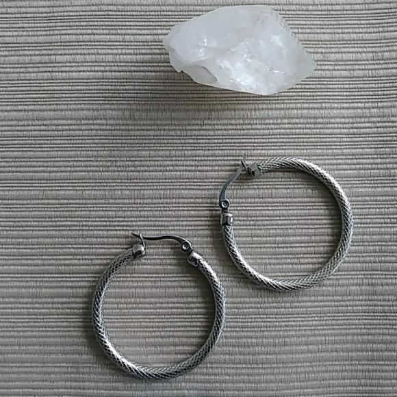Jewelry Small Textured Stainless Steel Hoop Earring Poshmark